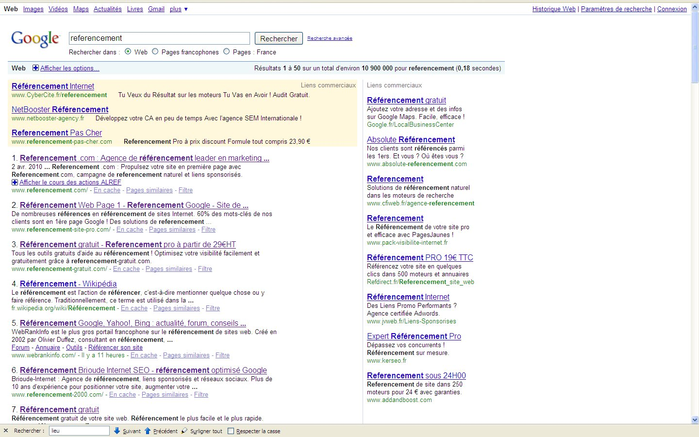 referencement google bing serp